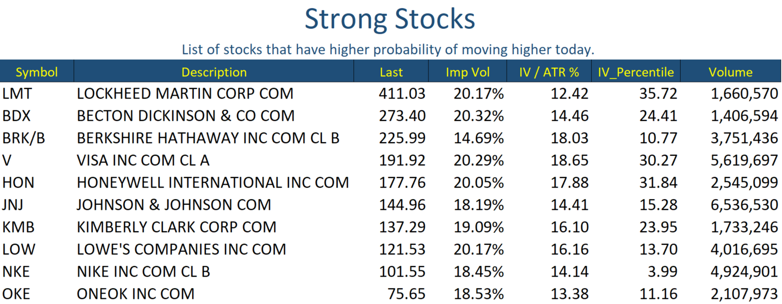 Strong Stocks Jan 09